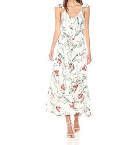 Blush Floral Print Flutter Sleeves Maxi Dress